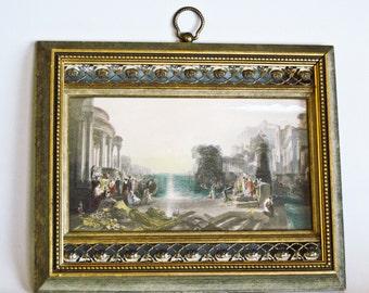 Old Artwork Venetian Scene Art Gravure by Sungott Art Studios NY Brass Trimmed Gilded Frame
