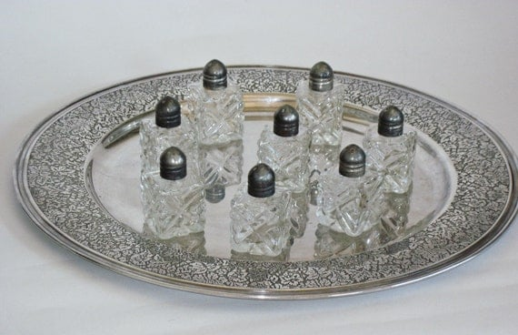 Salt Shakers Eight Individual Crystal and Silver Plate