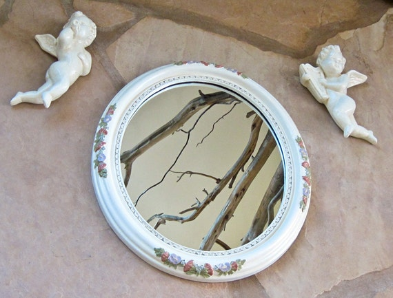 Wall Mirror Floral Cream Handpainted with Cherubs 15 x 18