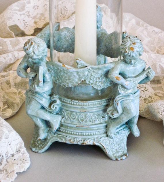 Candleholder Handpainted Cherubs in Aqua