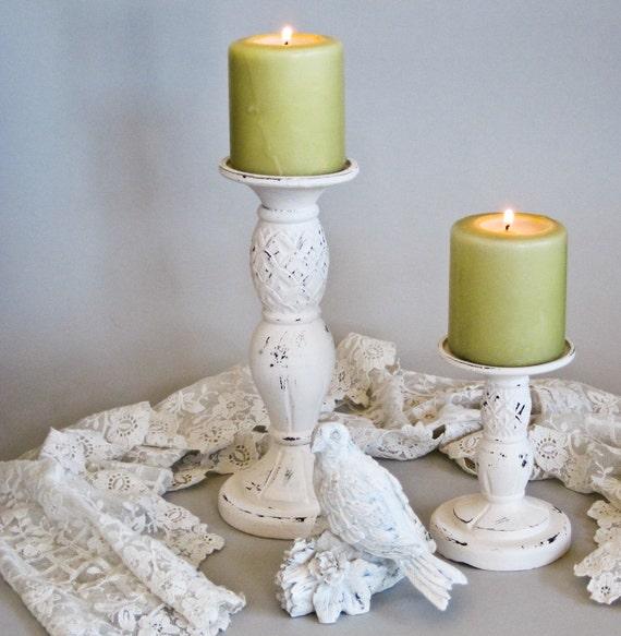 Shabbied Candlesticks Candleholders and Bird Arrangement