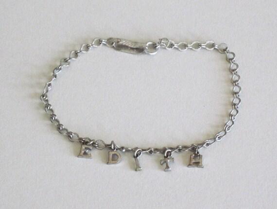 Name Bracelet Personalized Edith Charm Bracelet Vintage 30s