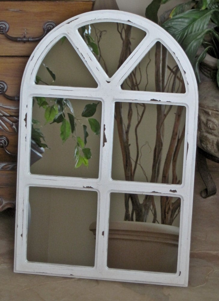 Wall Mirror Shabby Chic Arched Window Panes 24 X 16