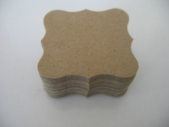 50 Kraft Curly Labels  for scrapbooking, journaling, cardmaking, gift tags, price tags etc....