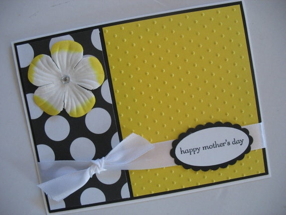 Black Yellow and White Mother's Day Card
