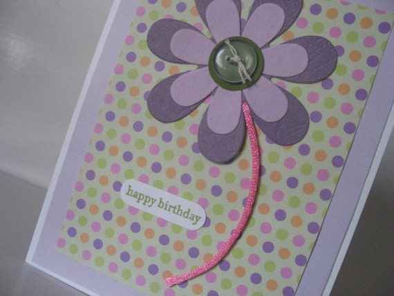 Happy Birthday Big Flower Card with polka dots