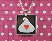 Chocolate Kiss Love Pendant Chocolate Lovers Necklace Soldered Glass Pendant