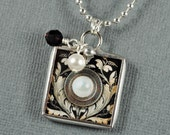 Gemstone Necklace Pearl Ruby Pendant Soldered Glass Charm