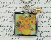 Van Gogh Sunflowers Necklace Soldered Glass Charm