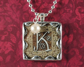 Vintage Monogram Pendant Custom Initial Necklace Pearl Charm