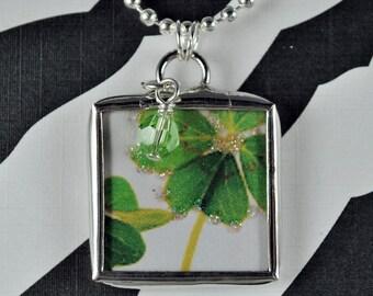 Four Leaf Clover Pendant Saint Patricks Day Necklace Soldered Charm