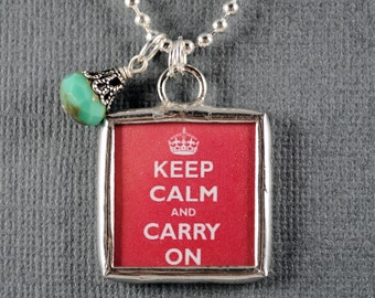 Keep Calm and Carry On Necklace Crown Pendant Keep Calm Charm