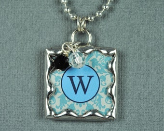 Blue Initial Necklace Personalized Letter Pendant Soldered Glass Charm