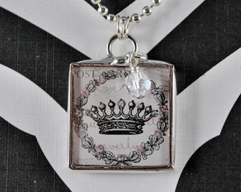 Queen-For-A-Day Crown Necklace Soldered Glass Pendant