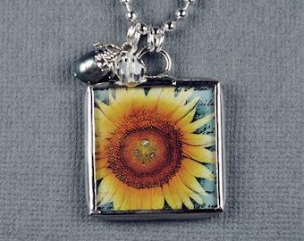 Sunflower Necklace Fleur De Lis Pendant Soldered Charm