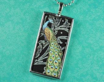 Peacock Pendant Aqua and Black Peacock Necklace Soldered Glass Pendant