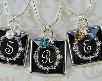 Bridesmaids Birthstone Necklace Personalized Initial Pendant Soldered Charm