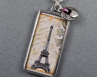 Vintage Eiffel Tower Necklace Paris Charm Soldered Glass Pendant