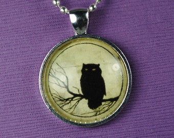Black Owl Necklace Halloween Jewelry Owl Jewelry Halloween Necklace Owl Charm