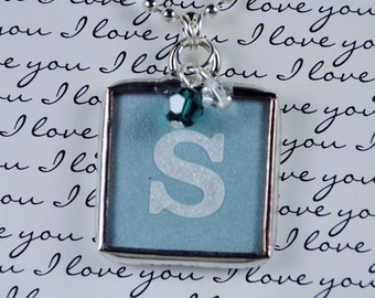 Personalized Glitter Initial Necklace Soldered Glass Pendant