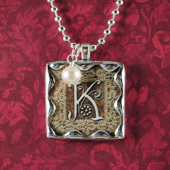 Vintage Monogram Pendant Custom Initial Necklace Pearl Charm