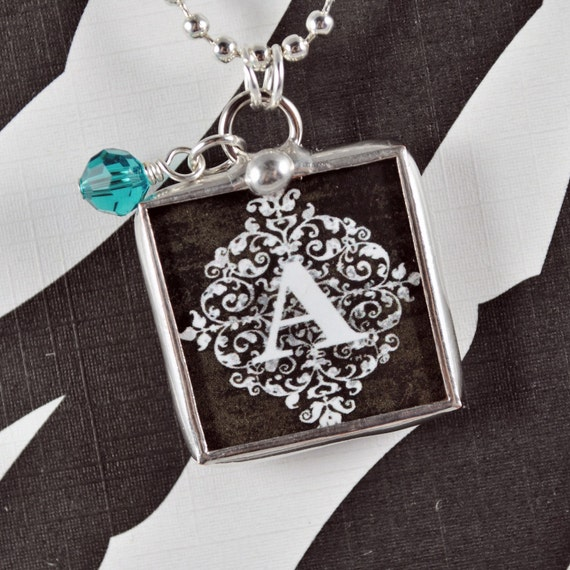 Personalized Initial Necklace Custom Initial Charm Soldered Glass Charm