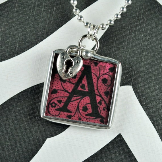 Custom Initial Necklace Personalized Letter Necklace Soldered Glass Charm