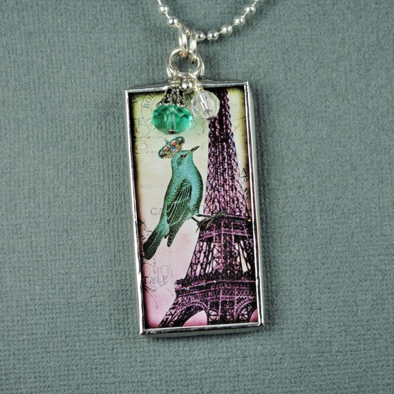 Eiffel Tower Necklace with Crowned Bird Soldered Glass Pendant