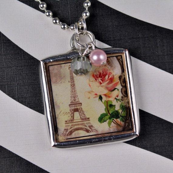 Eiffel Tower Necklace Paris Pendant Birthstone Jewelry