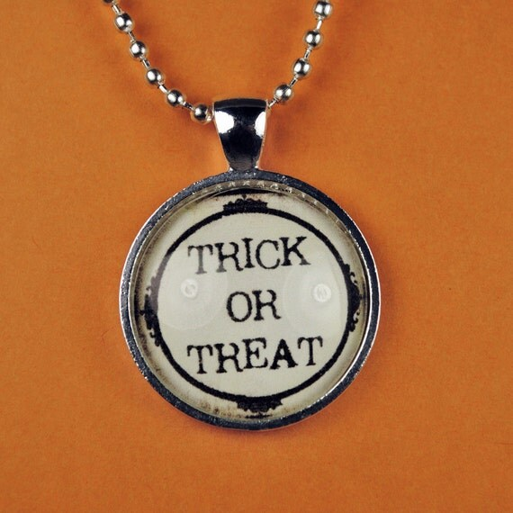 Trick or Treat Halloween Necklace Halloween Pendant