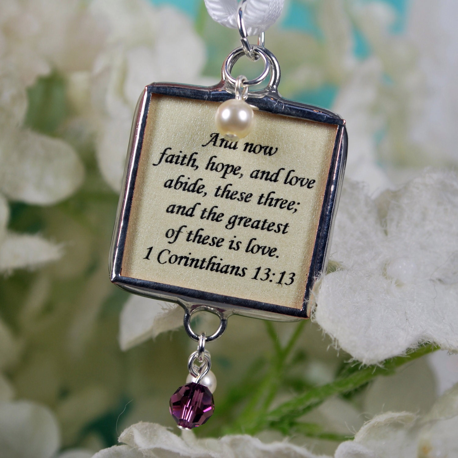christian wedding bouquet charm with memorial photo