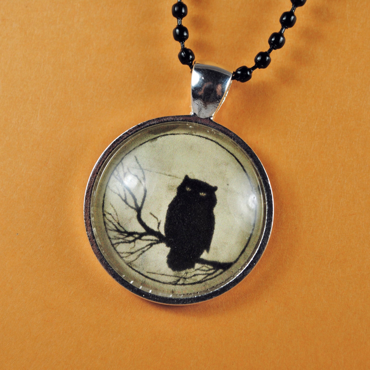 items similar to black owl necklace on etsy