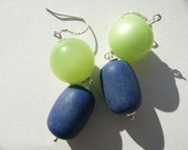 SALE Yvonne Earrings - blue and green vintage repurposed beads - matte and moonglow