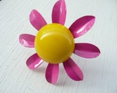 Alexia ring - colorblock hot pink bright yellow flower - repurposed vintage