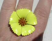 Gordana statement ring - adjustable cocktail ring - neon yellow and brown enameled flower - eco friendly repurposed vintage