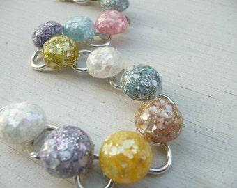 Natalie linked bracelet- spangles soft colors- little round domed vintage cabochons - eco friendly upcycled