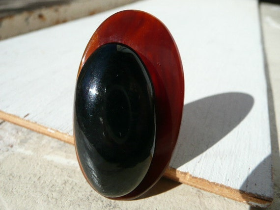 Charline adjustable cocktail ring - large statement oval brown and black asymetrical geometric plastic - upcycled vintage