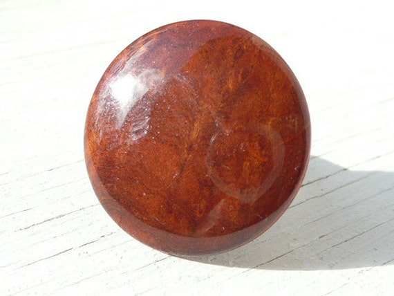 Diane adjustable ring - glazed wood disc - eco friendly repurposed vintage