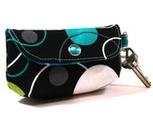 Small Keychain Clutch - Michael Miller - Hoopla Dots in Lagoon - Made to Order