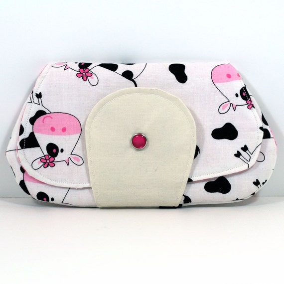 Pocket Clutch - Pink and White Cows