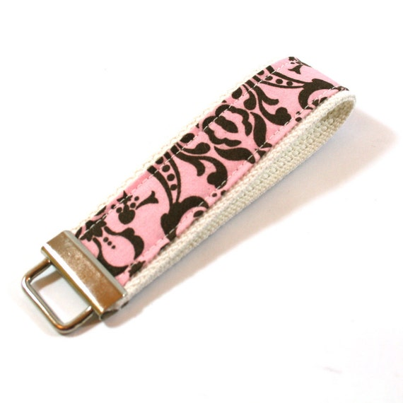 Key Fob Keychain - Pink and Brown Damask - Ready to Ship