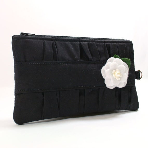 Black Pleated Evening Clutch with White Flower - Ready to Ship