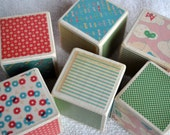 Reserved for Carly - Butterfly Patterned and Milk Painted Wooden Blocks (Set of Six)