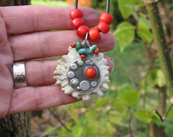 Passage of Time Antler Slice Coral Pendant