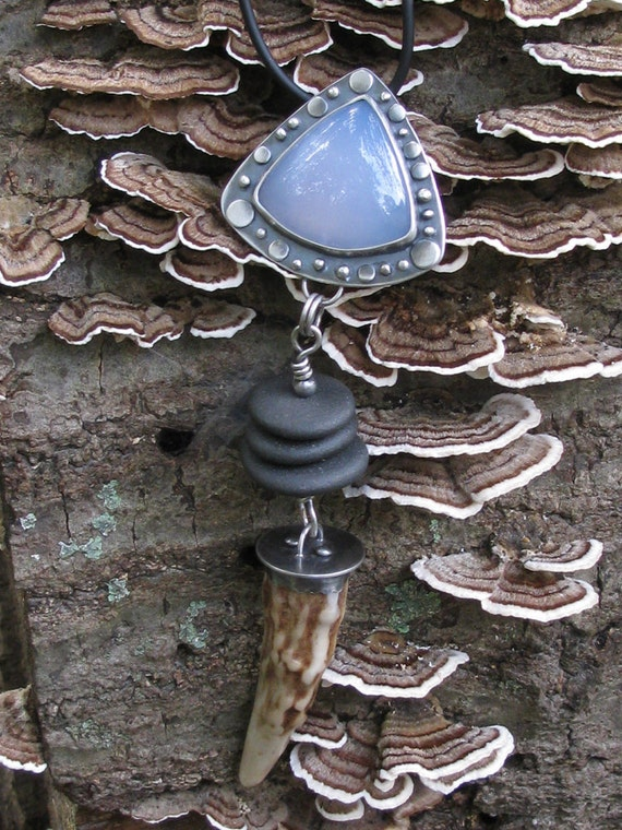 Elements Pendant --Land and Sky-- Sterling Silver Blue Chalcedony Neck Piece
