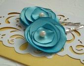 Summer hair flower bobby pins set/blue/ ocean blue