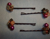 Set of Four Green Stone and Purple Pearl Copper Wire Wrapped Bobby Pins