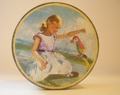 English Tin Box Vintage Sharps Toffee Tin Sweet Metal Candy Box Girl and Parrot Tin Container