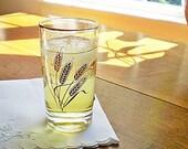9 Mid Century Juice Glasses, Homer Laughlin,  Golden Wheat Pattern