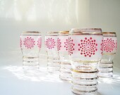 Vintage Glasses, Frosted with Coral Design, Cottage Chic
